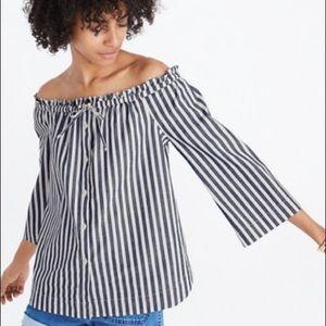 Madewell Shimmer Stripe Off Shoulder Top